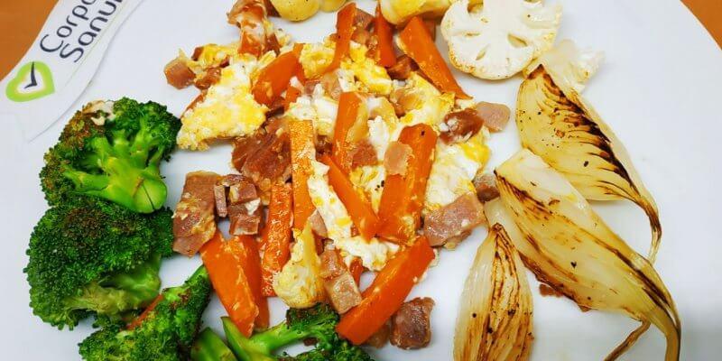 revuelto de verduras con jamón